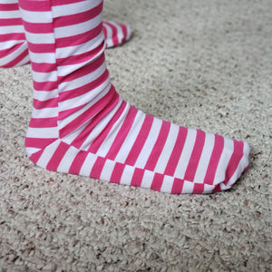 handmade pink striped knee high socks at quark and atom