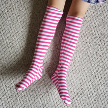 Load image into Gallery viewer, handmade pink striped knee high socks at quark and atom