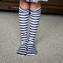 Load image into Gallery viewer, handmade navy striped knee high socks at quark and atom