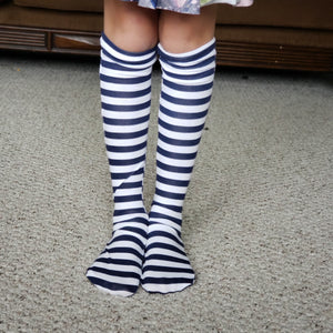handmade navy striped knee high socks at quark and atom
