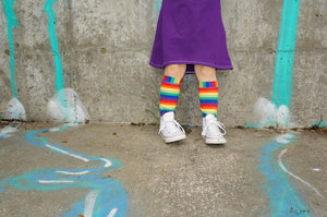 handmade rainbow striped knee high socks at quark and atom