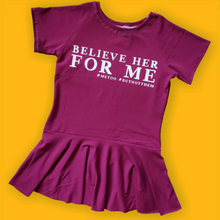 Load image into Gallery viewer, believe her for me peplum, #metoo, #ibelieveher, girl's handmade clothing at quark and atom