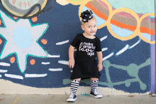 Load image into Gallery viewer, handmade black and white striped knee high socks at quark and atom