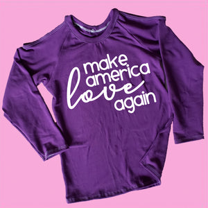 make america love again top, kids political shirt, political clothing for girls at quark and atom