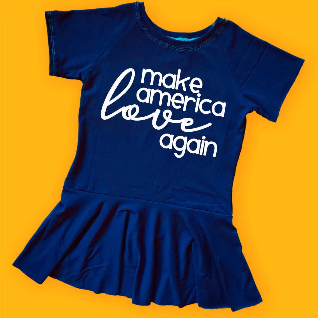 make america love again leotard, kids political peplum, #mala, political clothing for girls at quark and atom