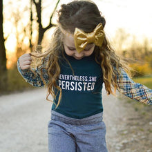 Load image into Gallery viewer, nevertheless she persisted top, t-shirt, political clothing for girls at quark and atom