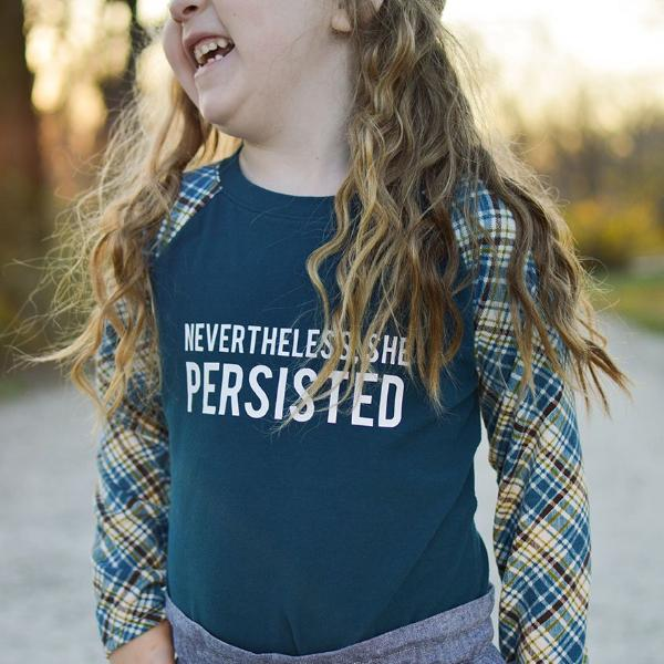 nevertheless she persisted top, t-shirt, political clothing for girls at quark and atom