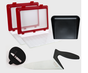 Bundle offer #1: 2 pieces of CleverTrays, ergonomic Chef's knife, high-edged cutting board and an ergonomic peeler.