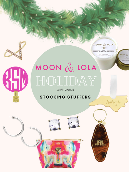A gift guide for stocking stuffers including earrings, ornaments, rings, finials, bags, keychains, and candles.