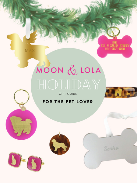 Holiday gift guide for the pet lovers in your life showing keychains, charms, ornaments, cuff links, dog tags, bangles, and ornaments.