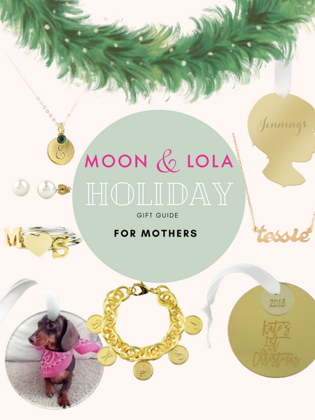 A holiday gift guide for mothers including personalized ornaments, necklaces, rings, pearls, necklaces, and bracelets.