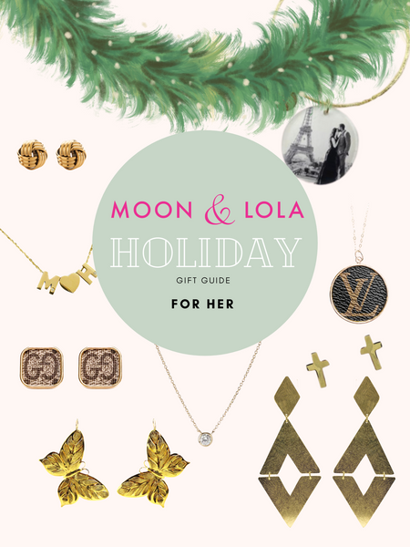 Holiday gift guide for her including earrings, necklaces, bracelets, and designer finds