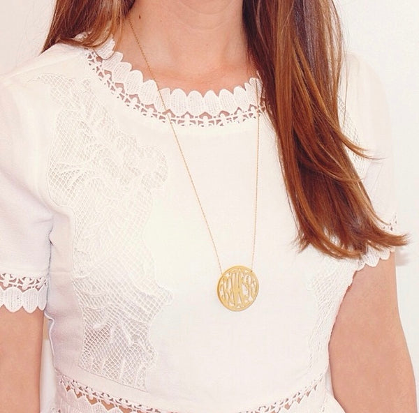 Moon and Lola Cheshire Rimmed Monogram Necklace