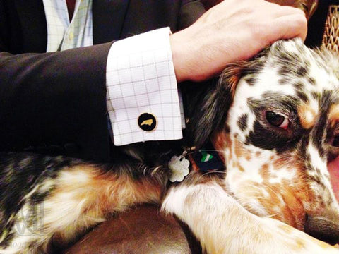 Moon and Lola - cufflinks on french cuff dress shirt with a puppy