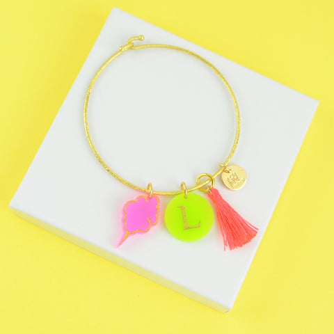 Moon and Lola - Nora Charm Bracelet with Cotton Candy, Tassel and Colorful Initial Charms