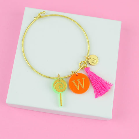Moon and Lola - Nora Charm Bracelet with Lollipop and Tassel and Colorful Initial Charms
