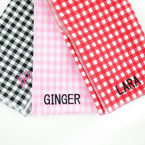 Moon and Lola Embroidered Gingham Bandanas