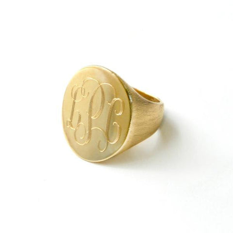 Moon and Lola Monogrammed Fine Metal Signet Ring