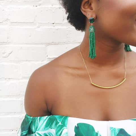 Moon and Lola Phi Phi Earrings in emerald styled on model