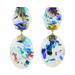Moon and Lola thimblepress resin confetti earrings in cool colors