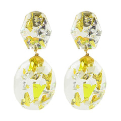 Moon and Lola thimblepress resin confetti earrings in gold and silver