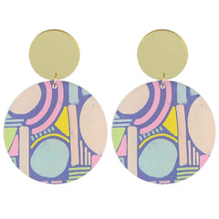 Moon and Lola MLxxTP Patterned Disc Drop Earrings