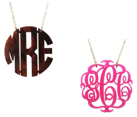Moon and Lola acrylic monogram necklaces