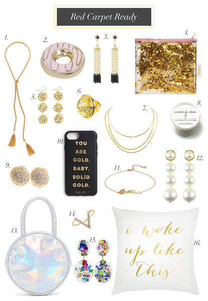 Moon and Lola academy awards oscar party mood board with jewelry and accessories