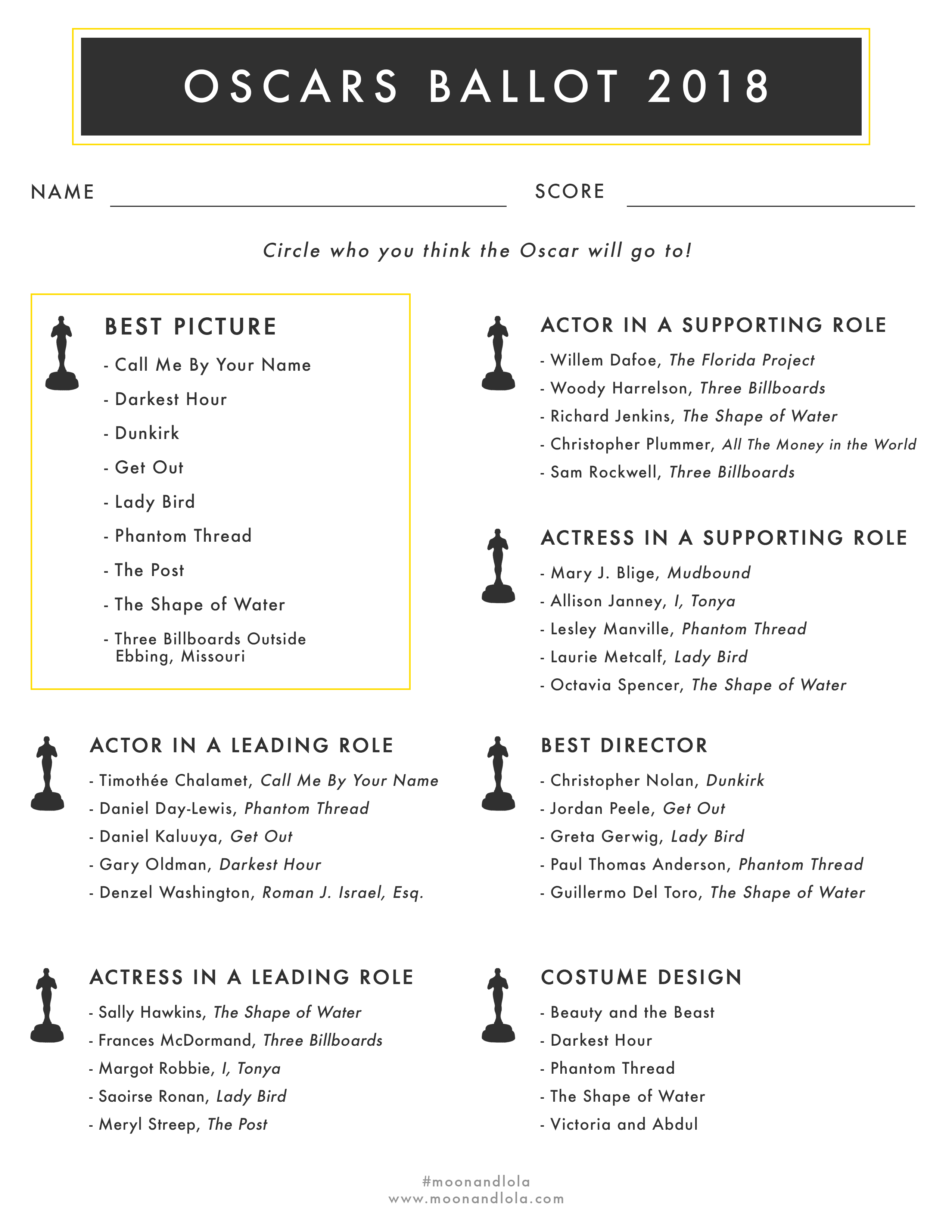Oscars 2018 Download - Academy Awards Ballot from Moon and Lola