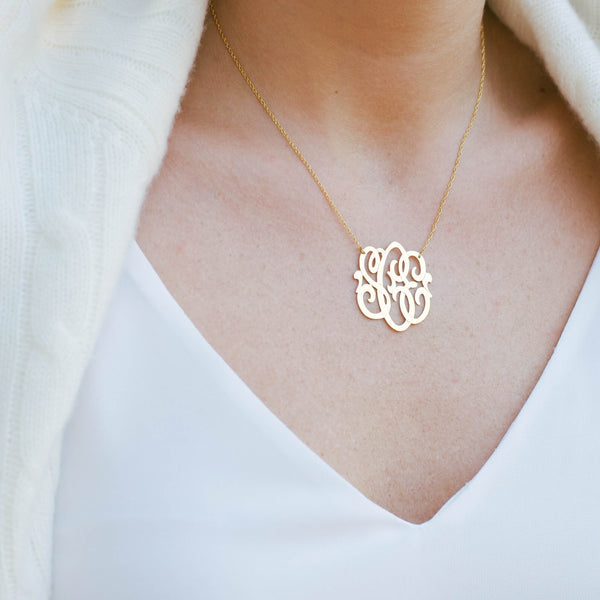 Blogger Summer Wind in Moon and Lola Cheshire Monogram Necklace