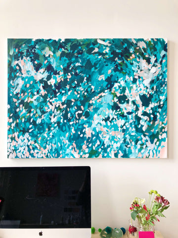 moon and lola taylor lee painting in teal