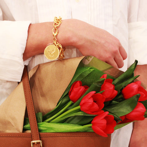Moon and Lola preston charm bracelet styled with red tulips