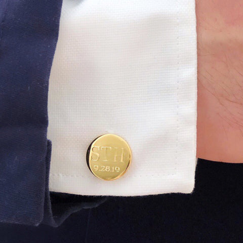Moon and Lola - engraved round gold monogrammed cufflinks with date