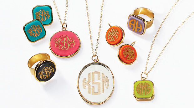 Moon and Lola vineyard collection of colorful acrylic monogram jewelry