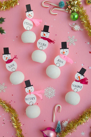 oh happy day diy snowman place cards on moon and lola happy pill blog
