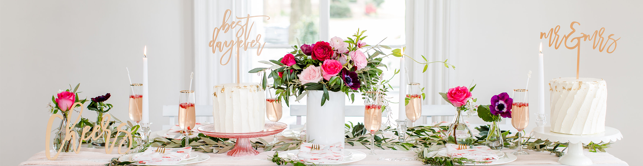 Party Table With Cakes, Roses and Champagne