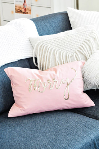 theproperblog diy holiday sequin pillow gold words