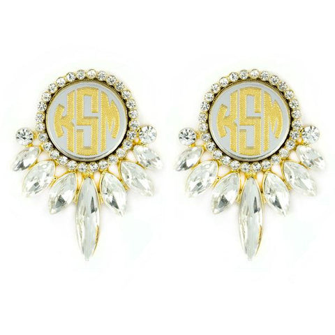 Moon and Lola Vienna Rhinestone Monogram Earrings for that special occasion