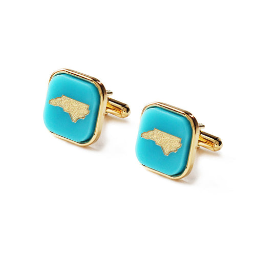 Moon and Lola - Acrylic Bezel Set Square Cuff Links with Hand Rubbed State Robin's Egg Blue