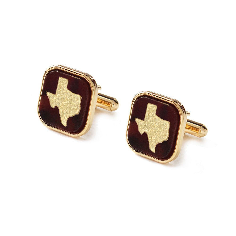 Moon and Lola - Acrylic Bezel Set Square Cuff Links with Hand Rubbed State Tortoise