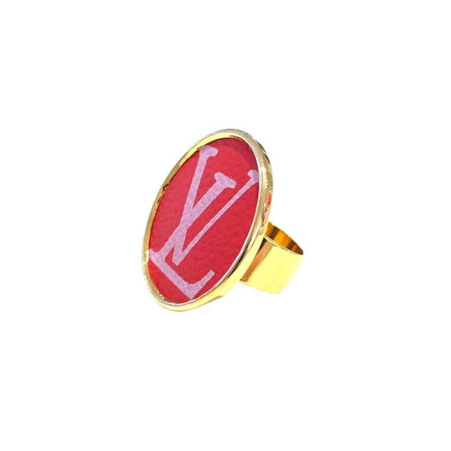 Leone Red Printed Round Ring