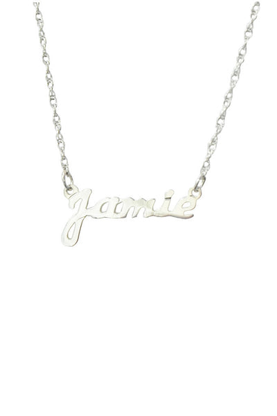 Moon and Lola - Metal Nameplate Necklace Sterling Silver