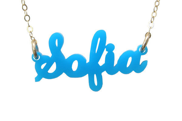 Moon and Lola - Acrylic Nameplate Necklaces Q-R-S
