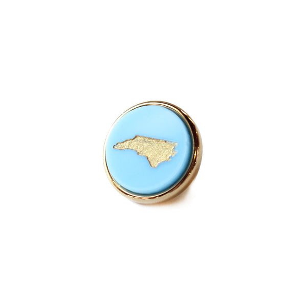 Moon and Lola - State Lapel Pin Carolina Blue with North Carolina in Gold
