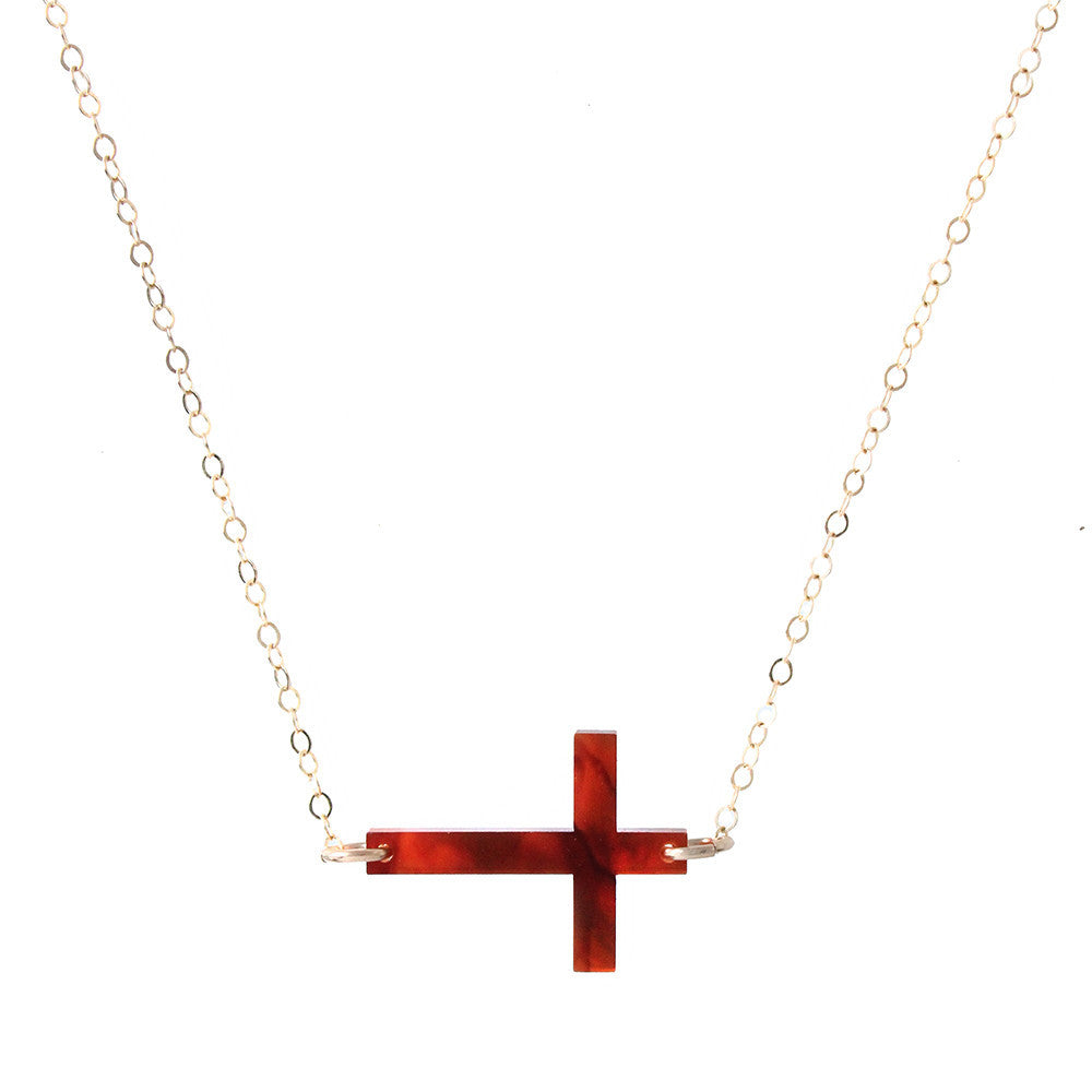 I found this at #moonandlola! - Acrylic Cross Necklace Tortoise