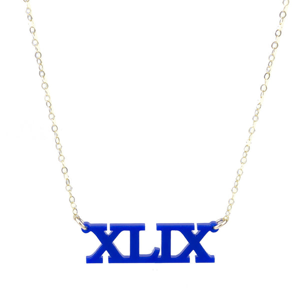 I found this at #moonandlola! - Acrylic Roman Numeral Necklace Cobalt