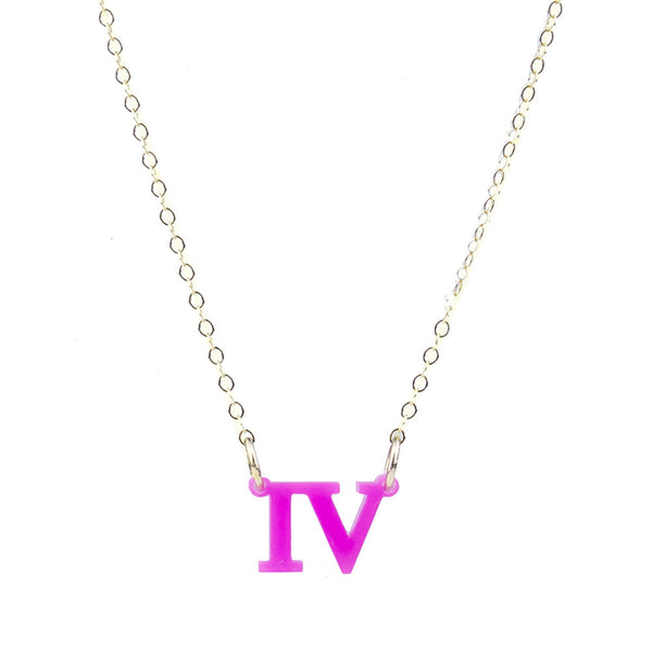 Moon and Lola - Acrylic Roman Numeral Necklace Hot Pink
