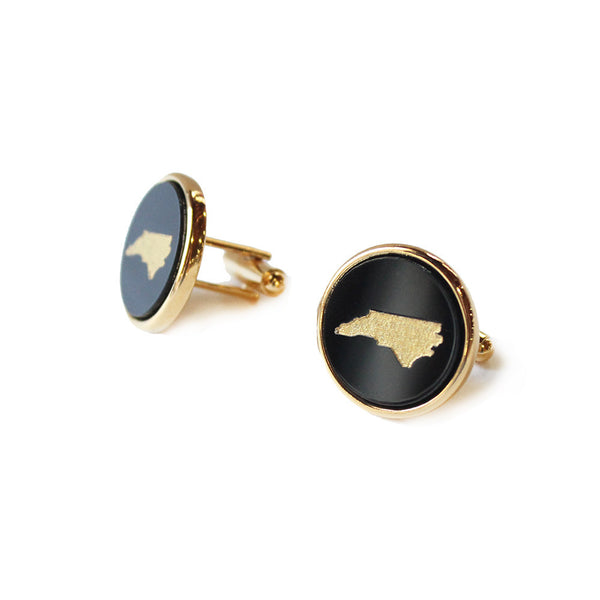 Moon and Lola - State Round Cuff Links Ebony with Gold North Carolina