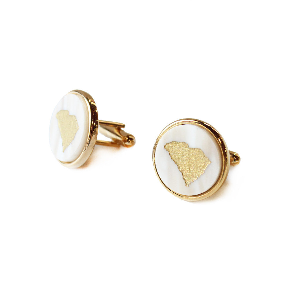 I found this at #moonandlola! - State Round Cuff Links Blonde Tortoise with Gold South Carolina