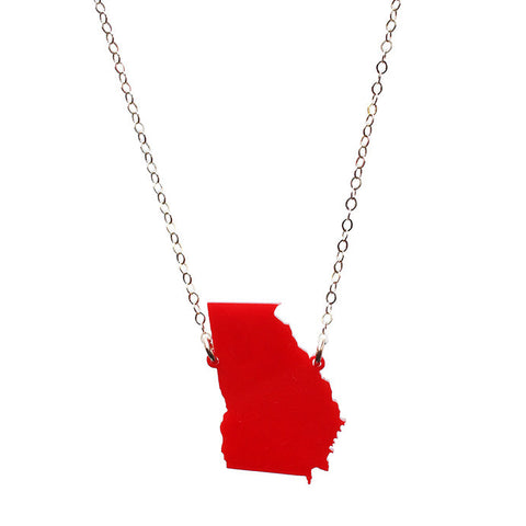 Acrylic State Heart Necklace